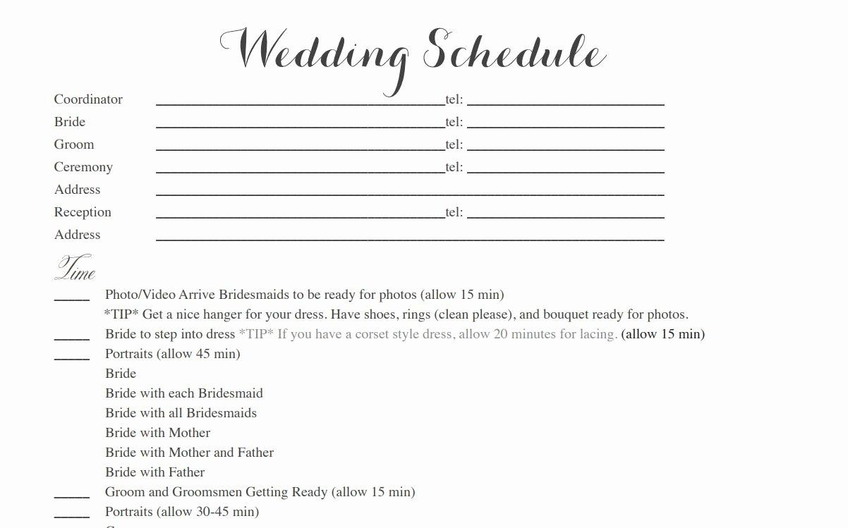 Wedding Itinerary Template Free Luxury Free Wedding Itinerary Templates and Timelines