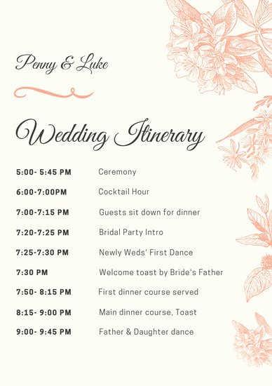 Wedding Itinerary Template Free New Peach Illustrated Wedding Itinerary Templates by Canva