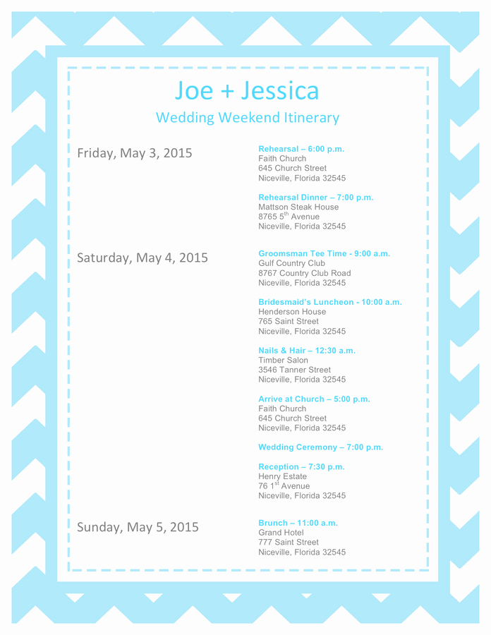 Wedding Itinerary Template Free Unique Wedding Itinerary Template Free Documents for