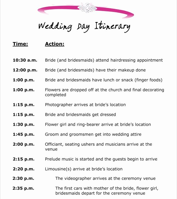Wedding Itinerary Templates Free Elegant 10 event Itinerary Templates Notes Designs