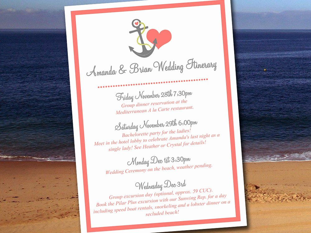 Wedding Itinerary Templates Free Inspirational Destination Wedding Itinerary Template