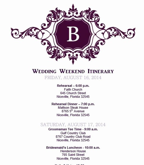 Wedding Itinerary Templates Free Inspirational Wedding Itinerary Wedding Itinerary Template Bridetodo
