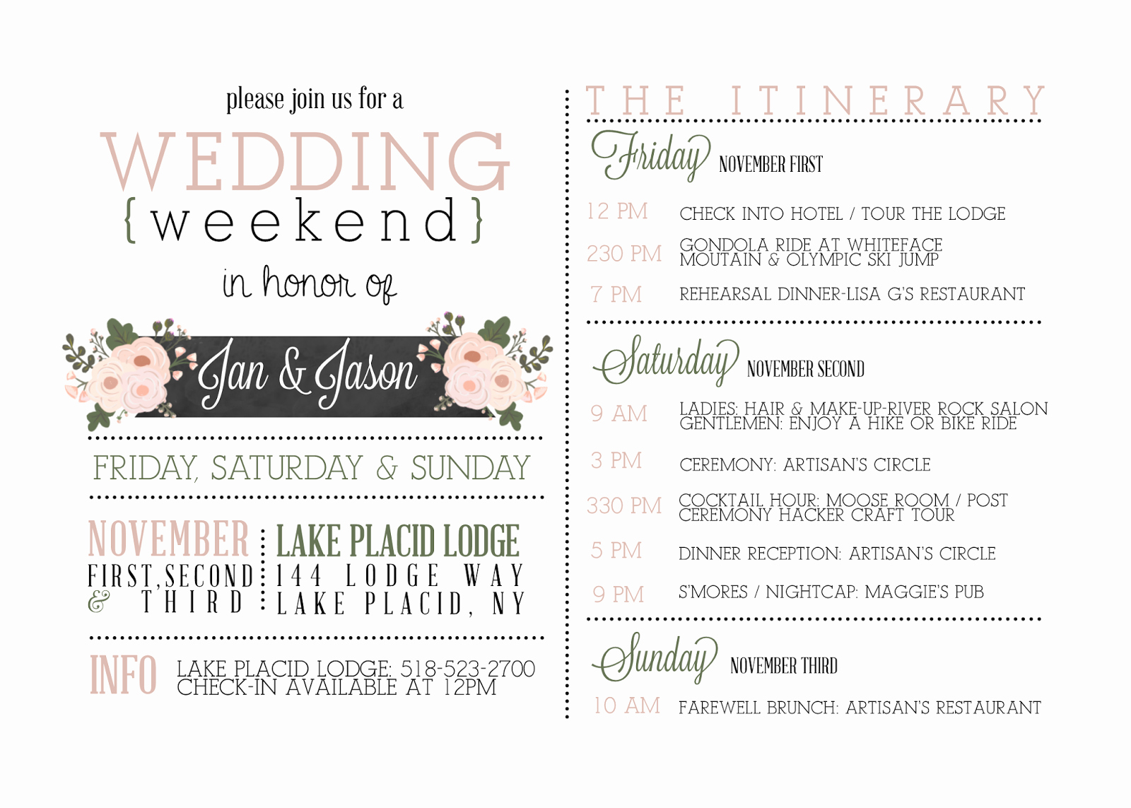 Wedding Itinerary Templates Free Luxury Sugar Queens Weekend Itinerary Invites