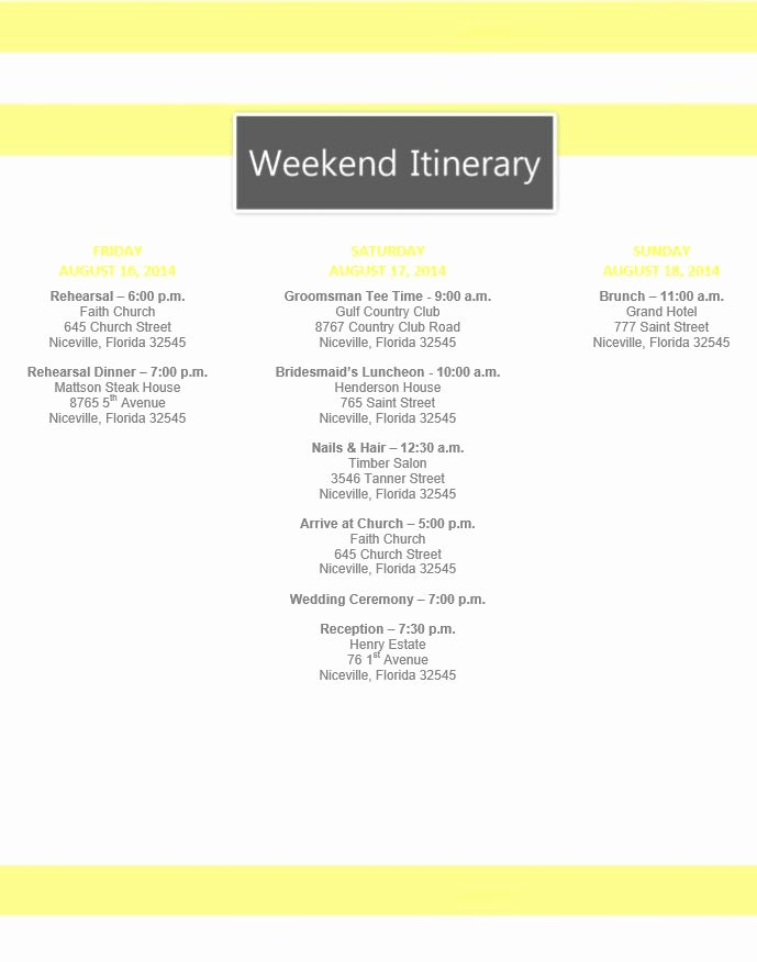 Wedding Itinerary Templates Free Luxury Yellow Stripe Wedding Itinerary Template Download