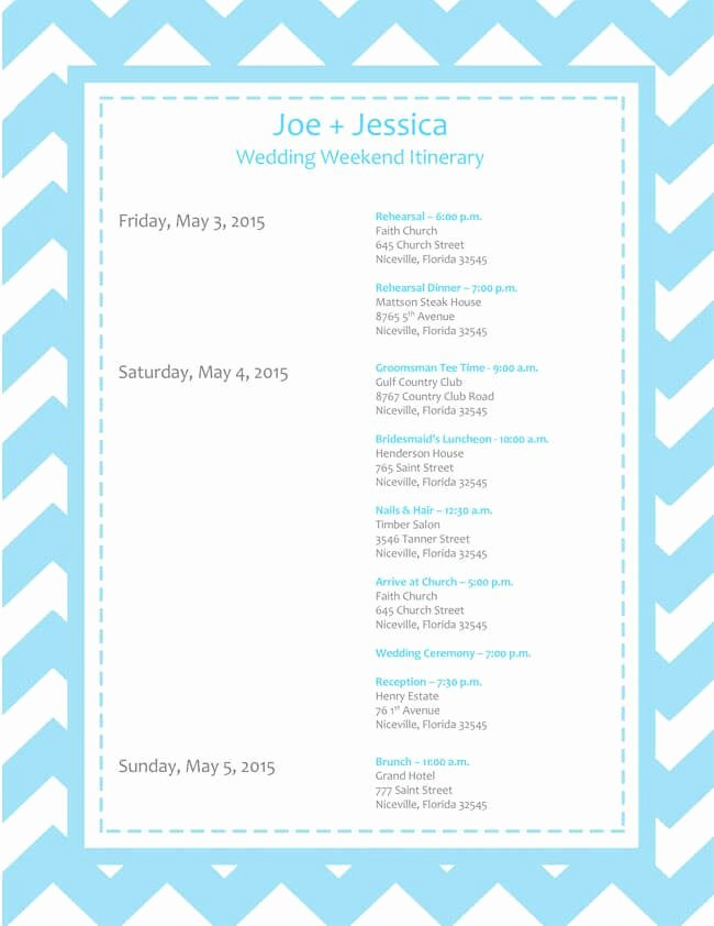 Wedding Itinerary Templates Free Unique 6 Free Wedding Itinerary Templates for Word and Excel