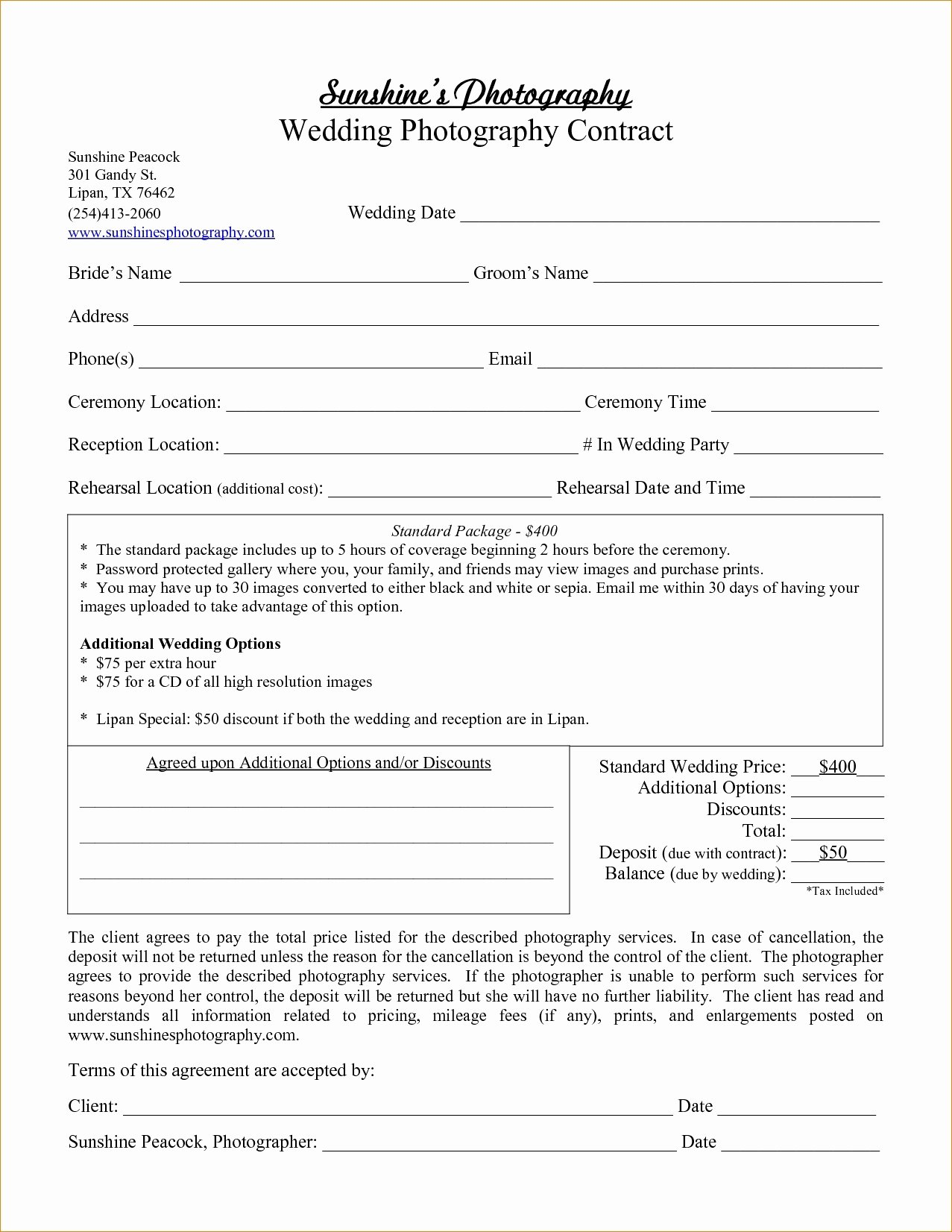 Wedding Photography Contract Template Word Awesome Graphy Contract Template Word