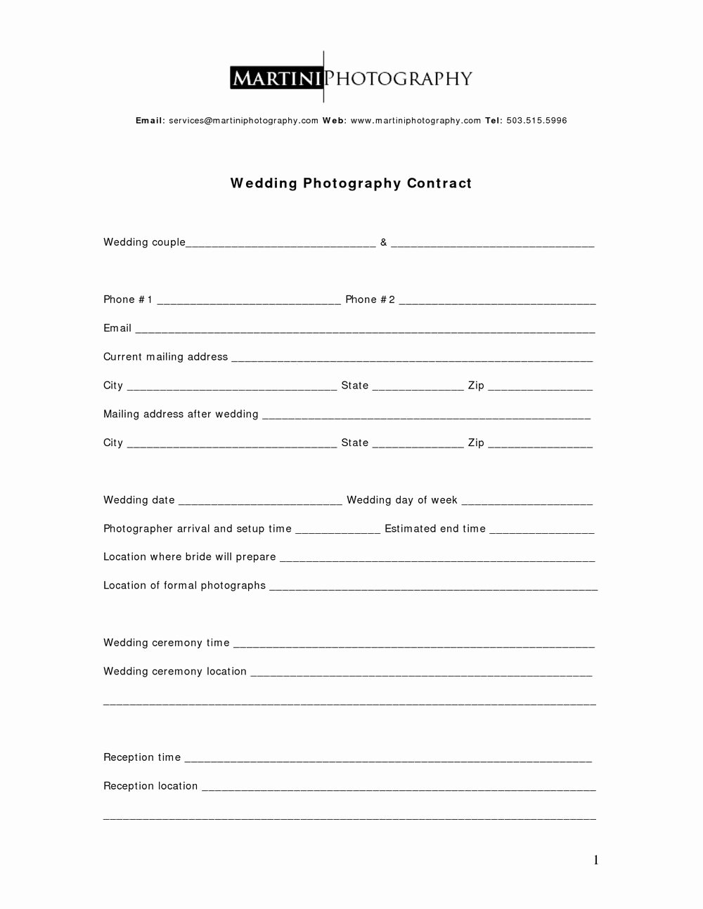 Wedding Photography Contract Template Word Awesome wholesale Agreement Template Templates
