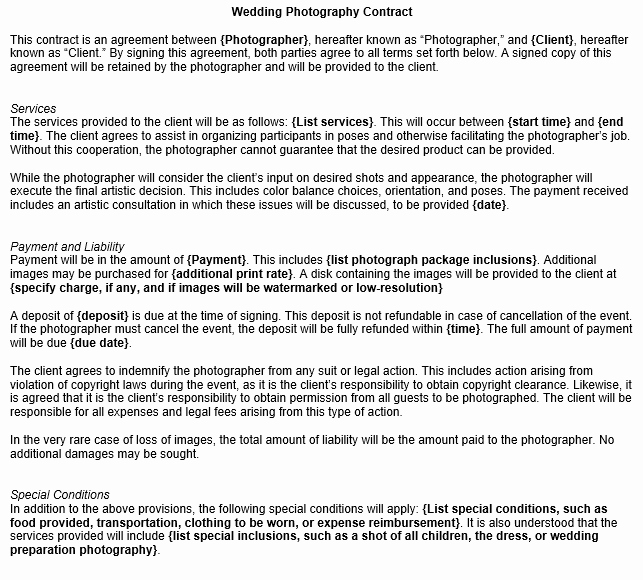 Wedding Photography Contract Template Word Beautiful Wedding Graphy Contract Template