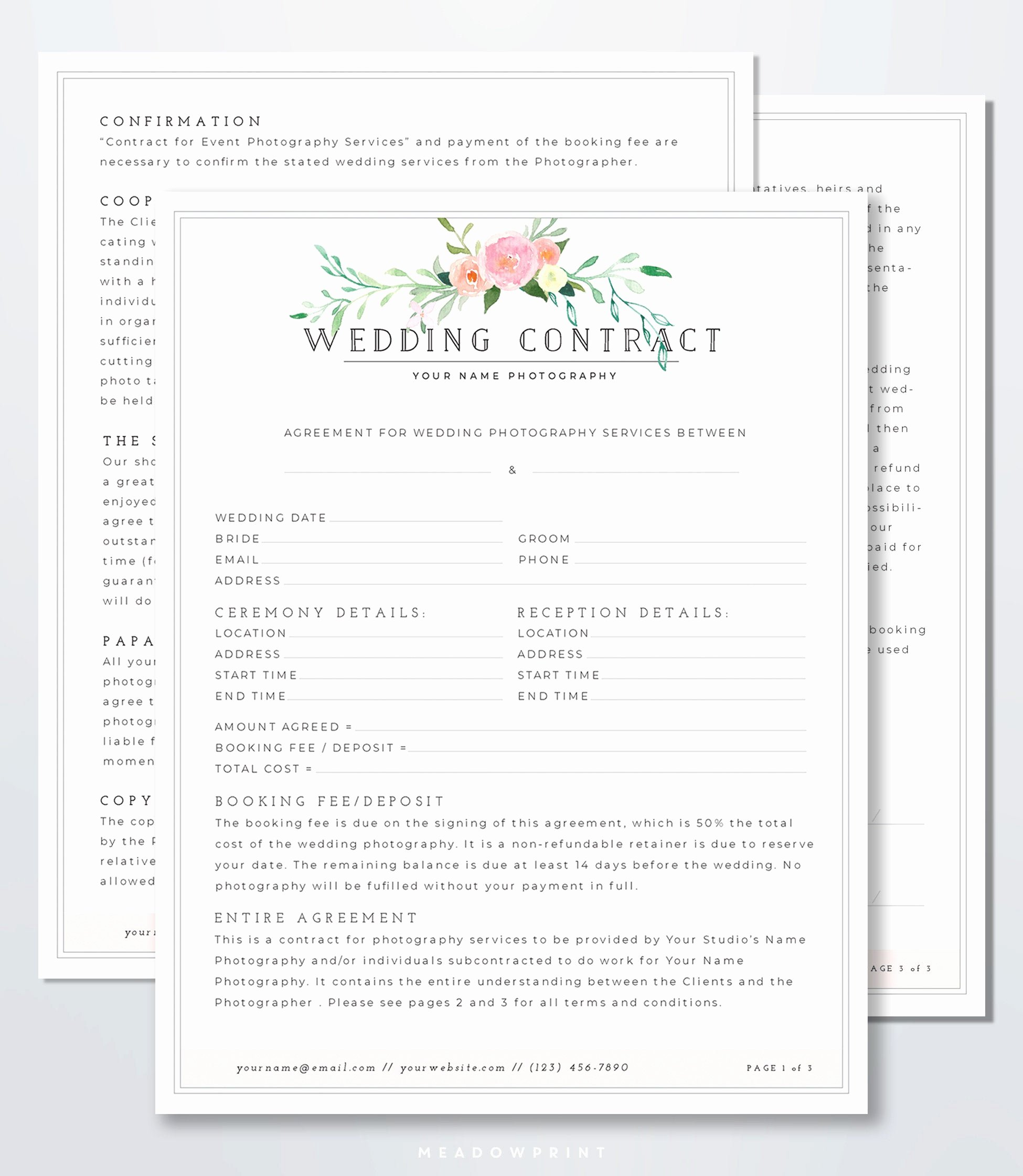 Wedding Photography Contract Template Word Best Of Wedding Graphy Contract Template Client Booking form