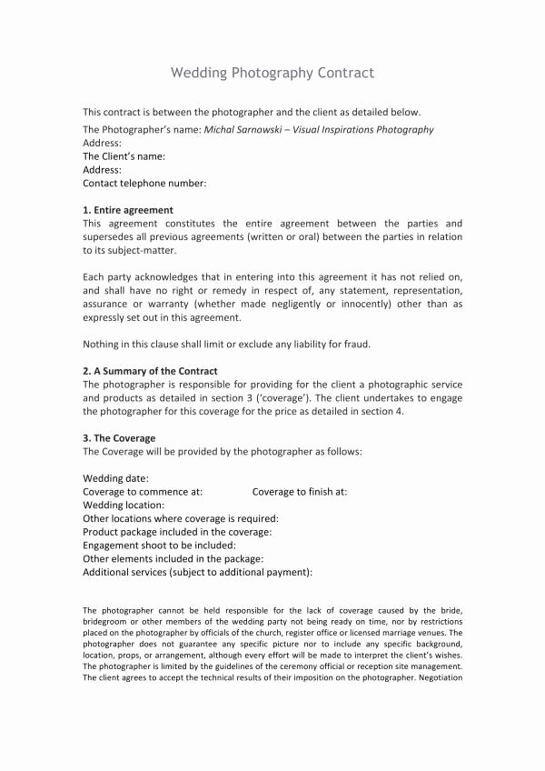 Wedding Photography Contract Template Word Fresh Free 11 Wedding Planner Contract Template In Pdf