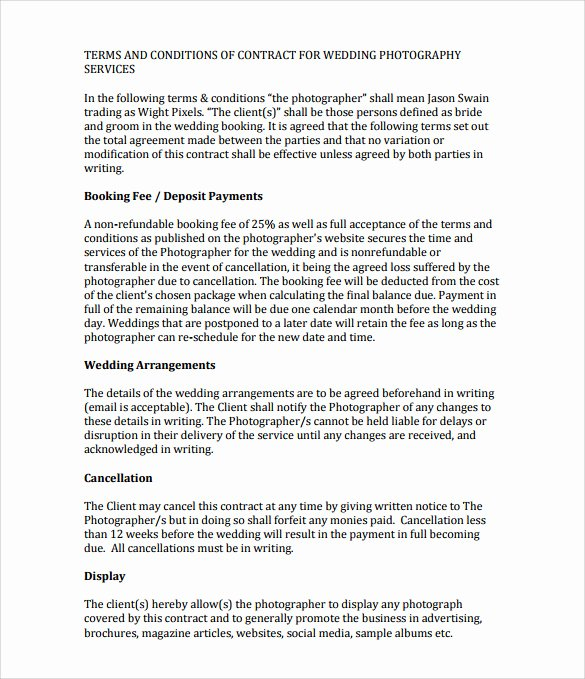 Wedding Photography Contract Template Word Fresh Sample Wedding Contract 25 Documents In Pdf Word