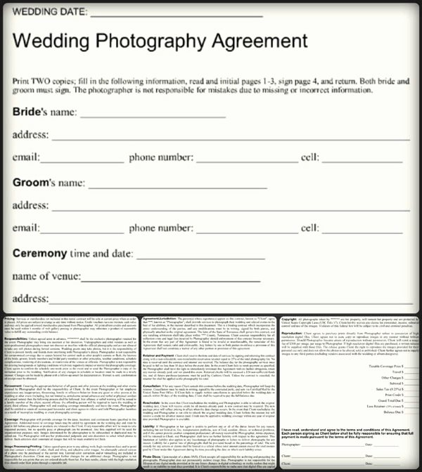 Wedding Photography Contract Template Word Fresh Simple Wedding Graphy Agreement Example – Word