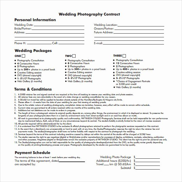 Wedding Photography Contract Template Word Inspirational Wedding Contract Template 23 Download Documents In Pdf