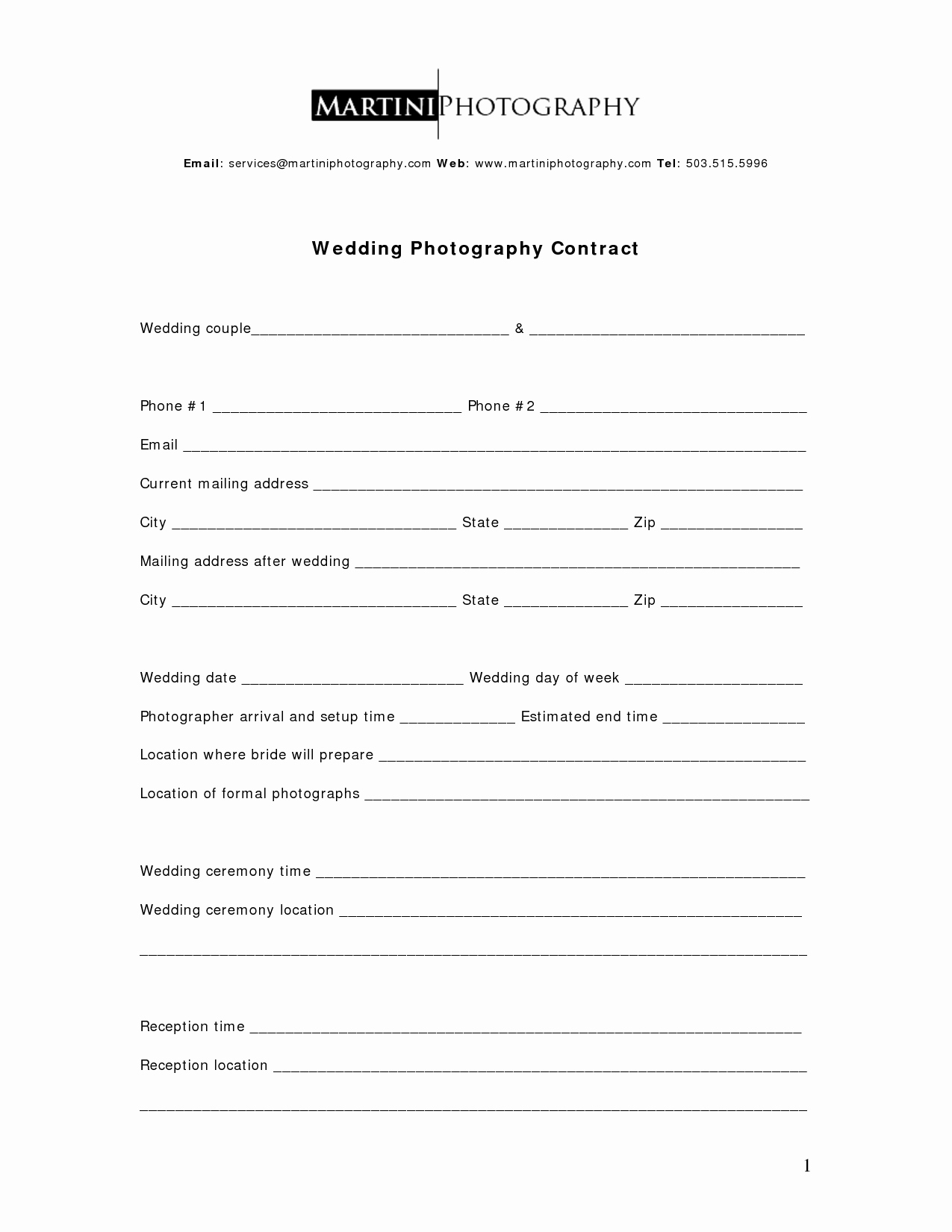 Wedding Photography Contract Template Word Luxury 26 Of Graphy Service Contract Template