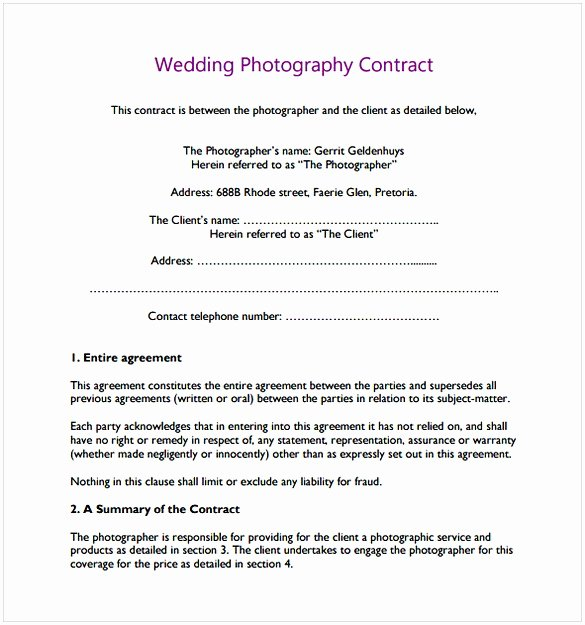Wedding Photography Contract Template Word Luxury Wedding Photography Contract Pdf
