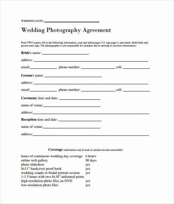 Wedding Photography Contract Template Word Unique Sample Wedding Contract 14 Documents In Pdf Word