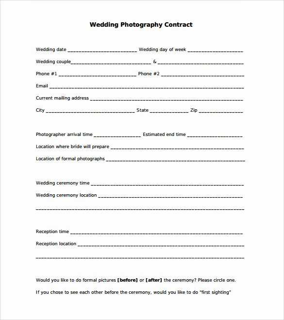 Wedding Photography Contract Template Word Unique Sample Wedding Contract 25 Documents In Pdf Word