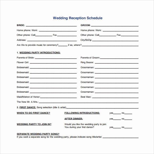 Wedding Reception Itinerary Template Elegant Wedding Agenda 9 Download Free Documents In Pdf