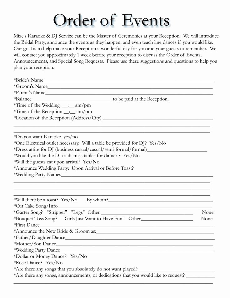 Wedding Reception Itinerary Template Lovely Wedding Itinerary Templates Free