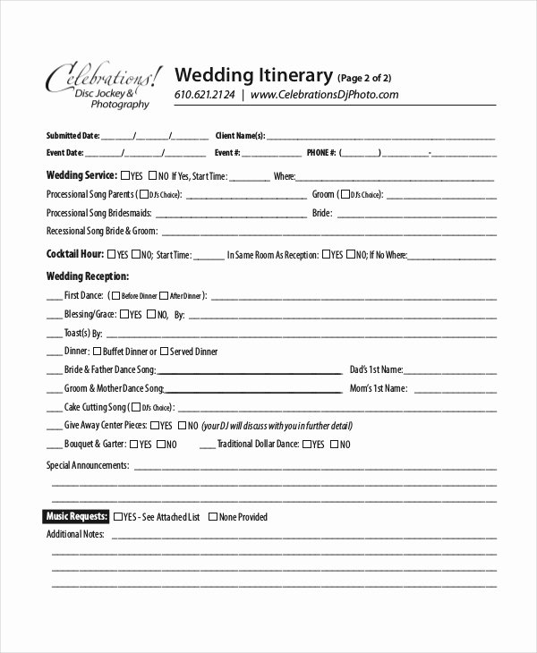 Wedding Reception Itinerary Template Luxury 7 Wedding Itinerary Template Free Sample Example