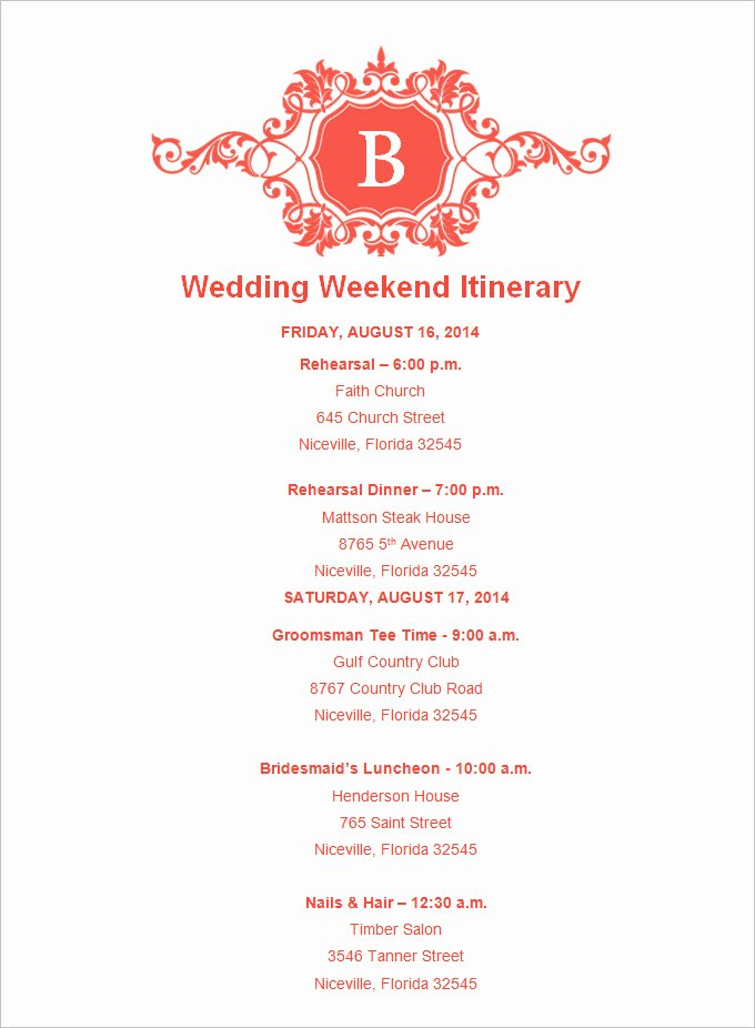 Wedding Reception Itinerary Template Luxury Destination Wedding Itinerary Template