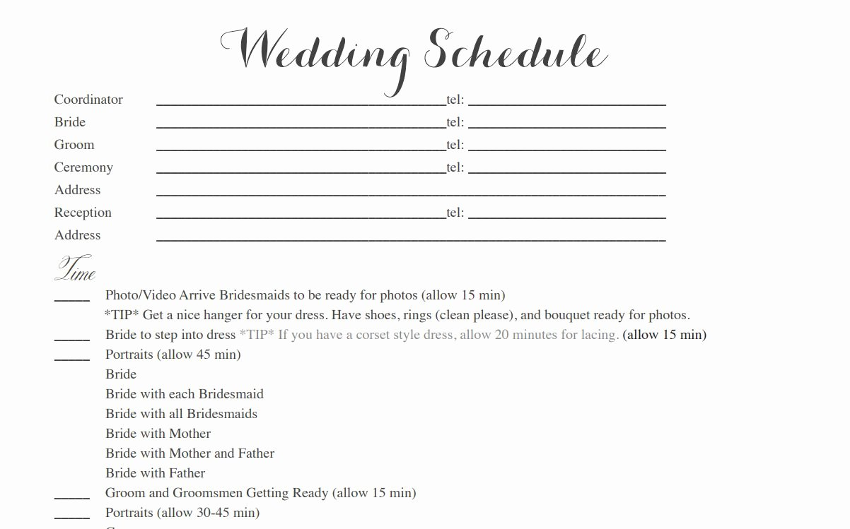 Wedding Reception Itinerary Template New Free Wedding Itinerary Templates and Timelines