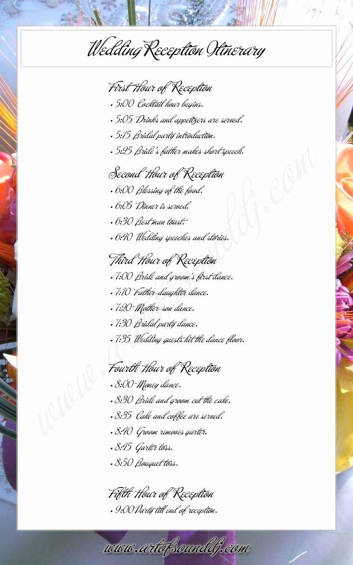 Wedding Reception Itinerary Template New Wedding Reception Itinerary Great Idea Takes the
