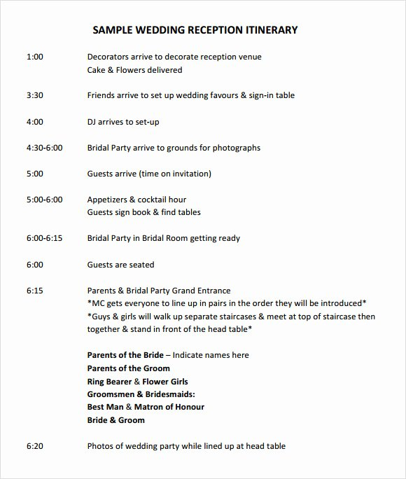 Wedding Reception Itinerary Template Unique Free 7 Wedding Itinerary Samples In Pdf Psd