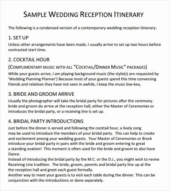 Wedding Reception Itinerary Template Unique Wedding Agenda 9 Download Free Documents In Pdf