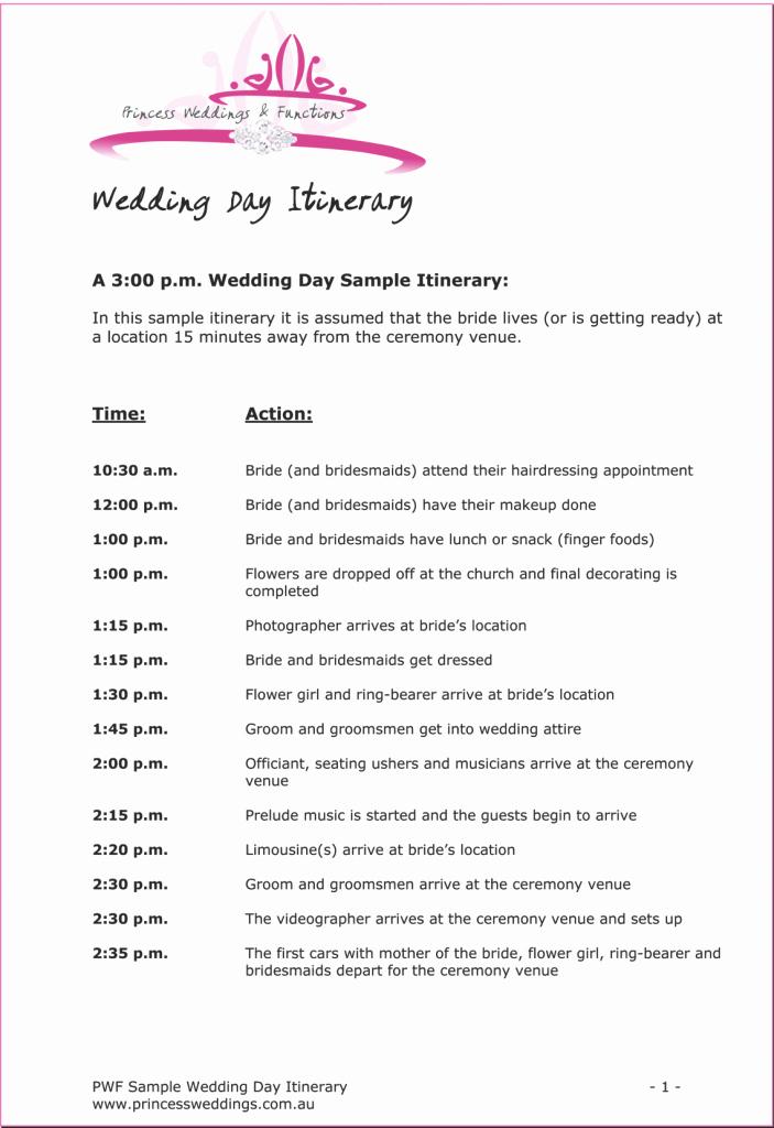 Wedding Reception Itinerary Template Unique Wedding Itinerary Example 703x1024 Wedding
