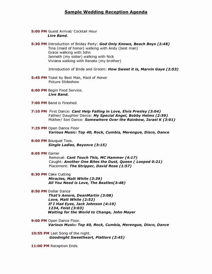 Wedding Reception Itinerary Template Unique Wedding Reception Program Sample Templates
