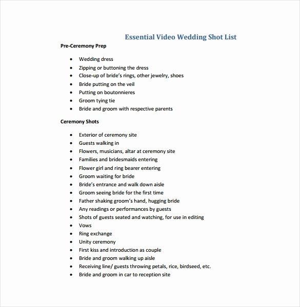 Wedding Shot List Template Beautiful 9 Shot List Templates Pdf Word Excel