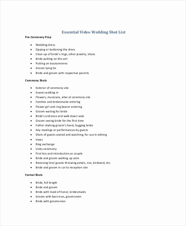 Wedding Shot List Template Best Of Shot List Template 10 Free Word Pdf Psd Documents