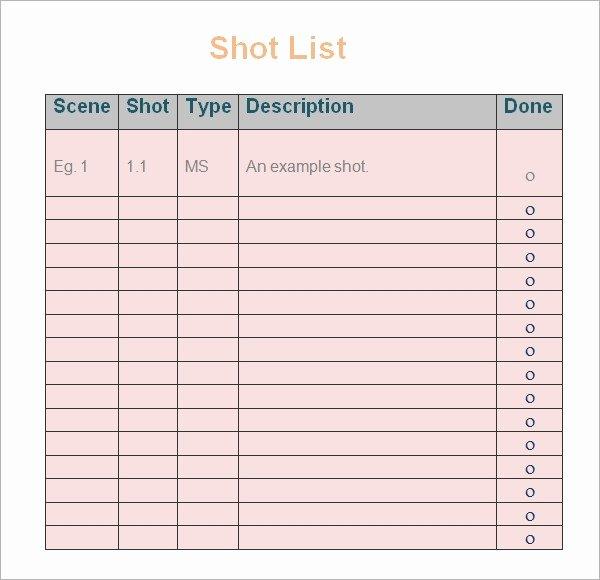 Wedding Shot List Template Lovely 9 Shot List Templates Pdf Word Excel