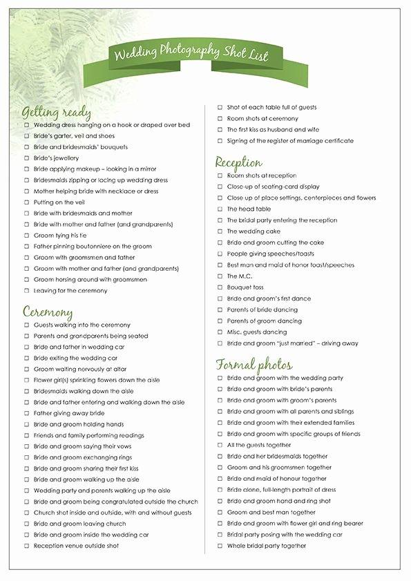 Wedding Shot List Template Luxury Wedding Photography Checklist