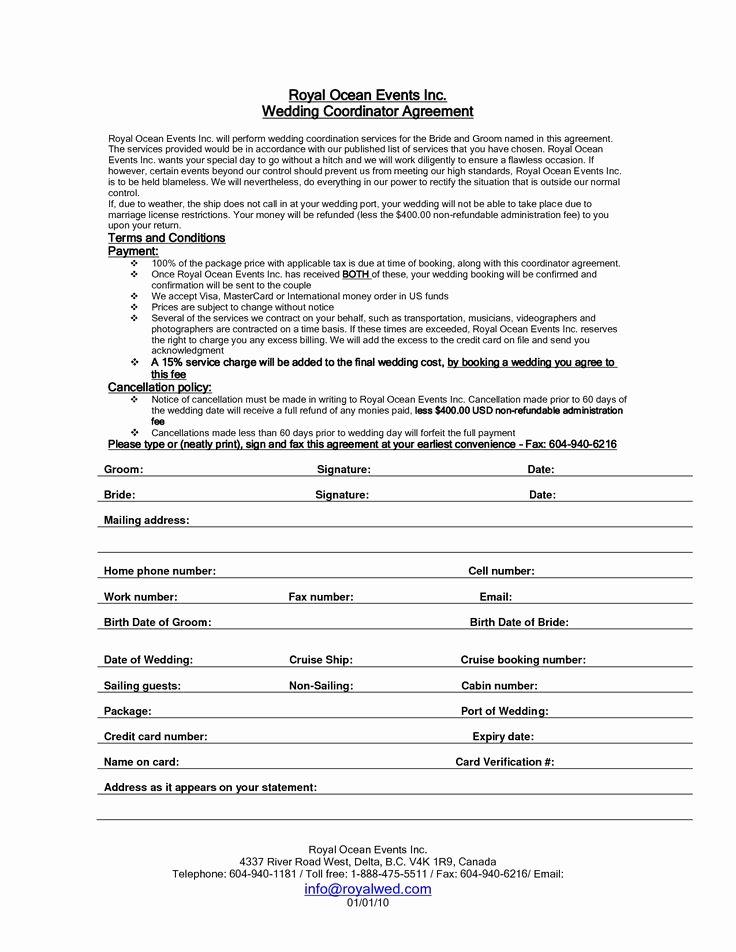 Wedding Vendor Contract Template Best Of Wedding Planner Contract Sample Templates