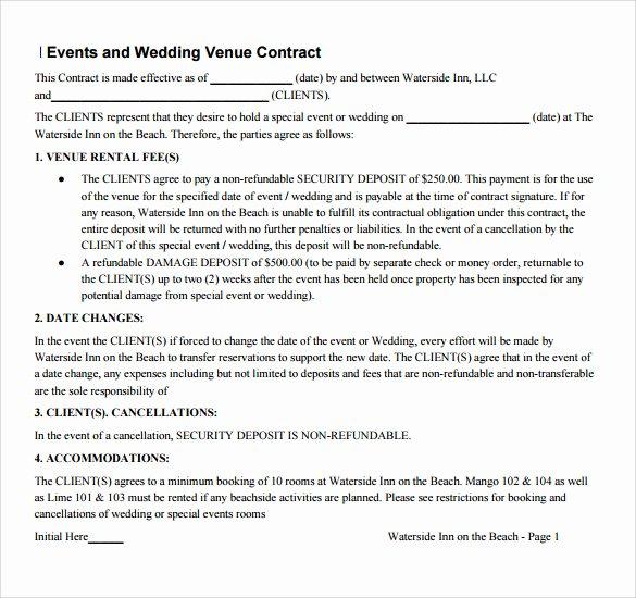 Wedding Vendor Contract Template Elegant Sample Vendor Contract Template 13 Free Samples