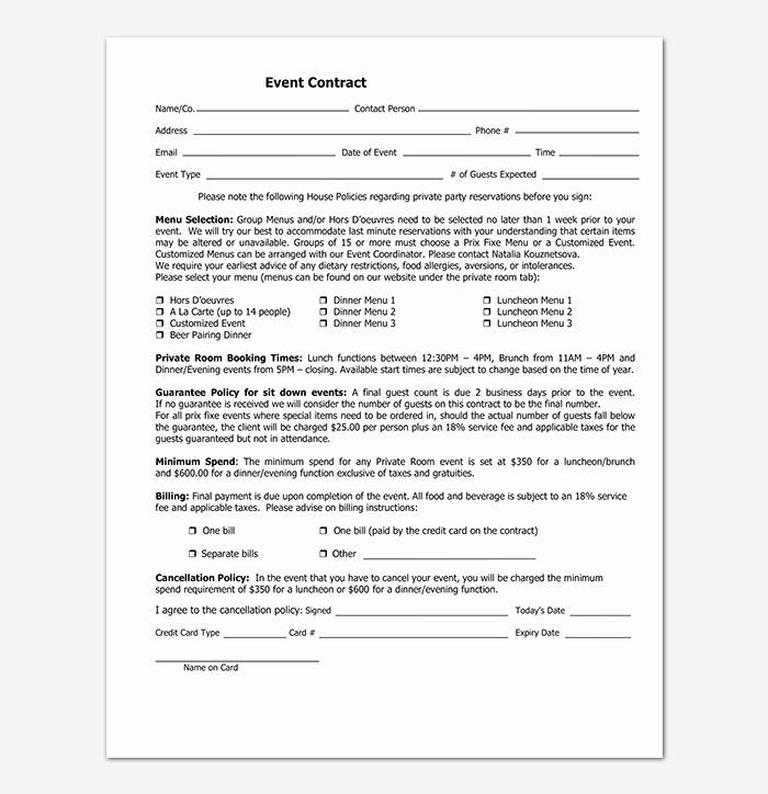 Wedding Vendor Contract Template Lovely event Contract Template 19 Samples Examples In Word
