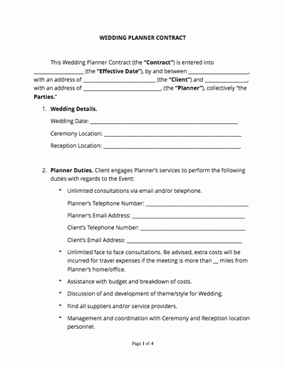 Wedding Vendor Contract Template Lovely Wedding Planner Contract Free Sample Docsketch