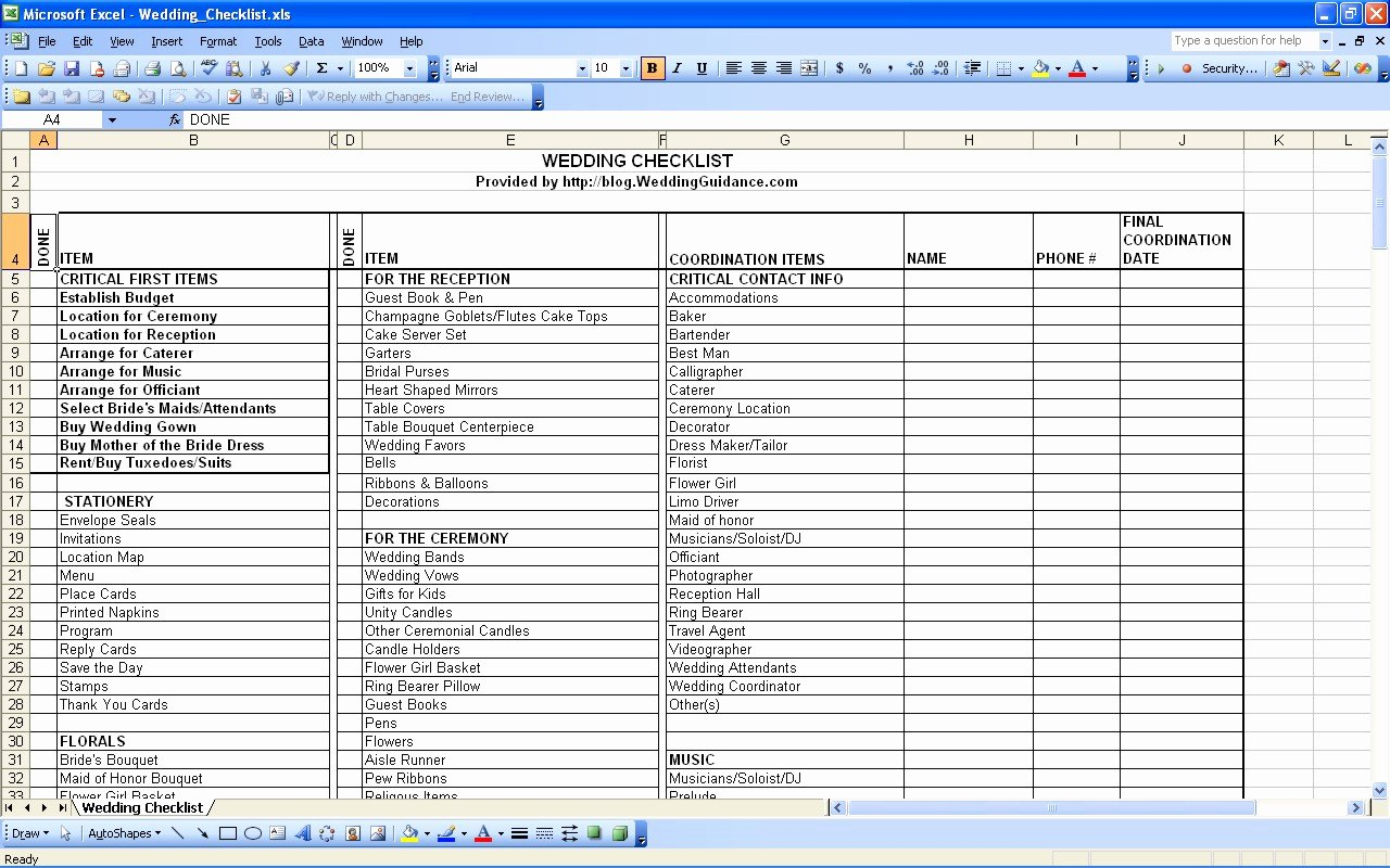 Wedding Vendor List Template Awesome Spreadsheet for Wedding Planning