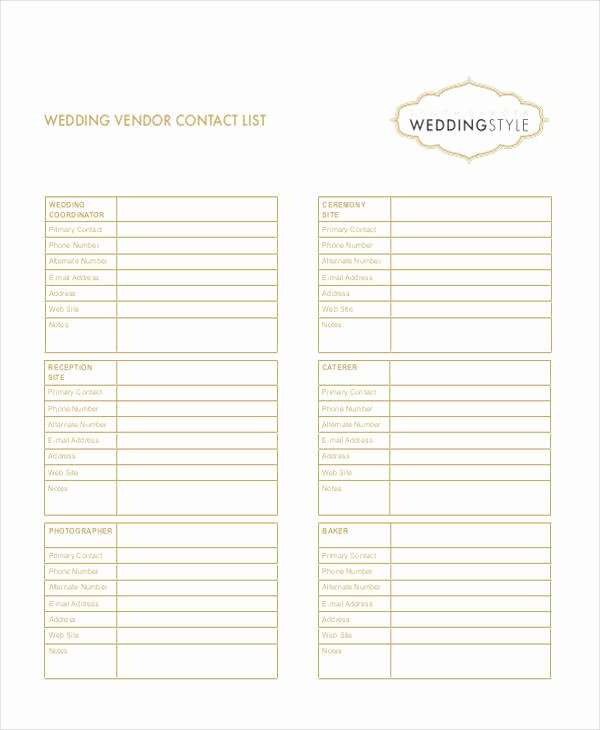 Wedding Vendor List Template Beautiful 33 Free List Samples