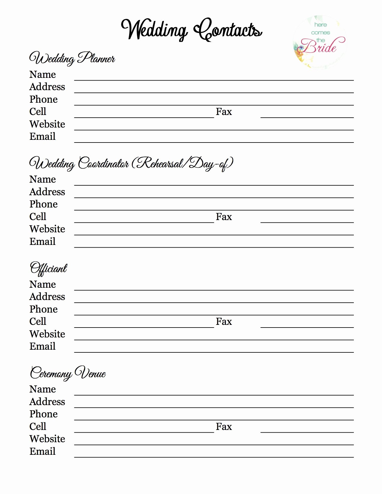 Wedding Vendor List Template Beautiful Wedding Planner with Free Printables – Refurbished