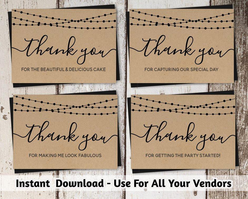 Wedding Vendor List Template Best Of Wedding Vendor Thank You Card Template Printable Tip Card