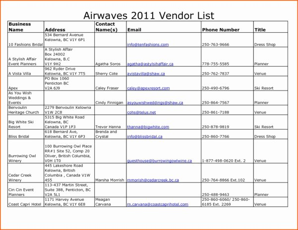 Wedding Vendor List Template Lovely Spreadsheet Template Page 12 How Do I Add A Signature to
