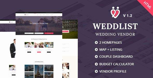 Wedding Vendor List Template New Weddlist Wedding Vendor Directory HTML Template by