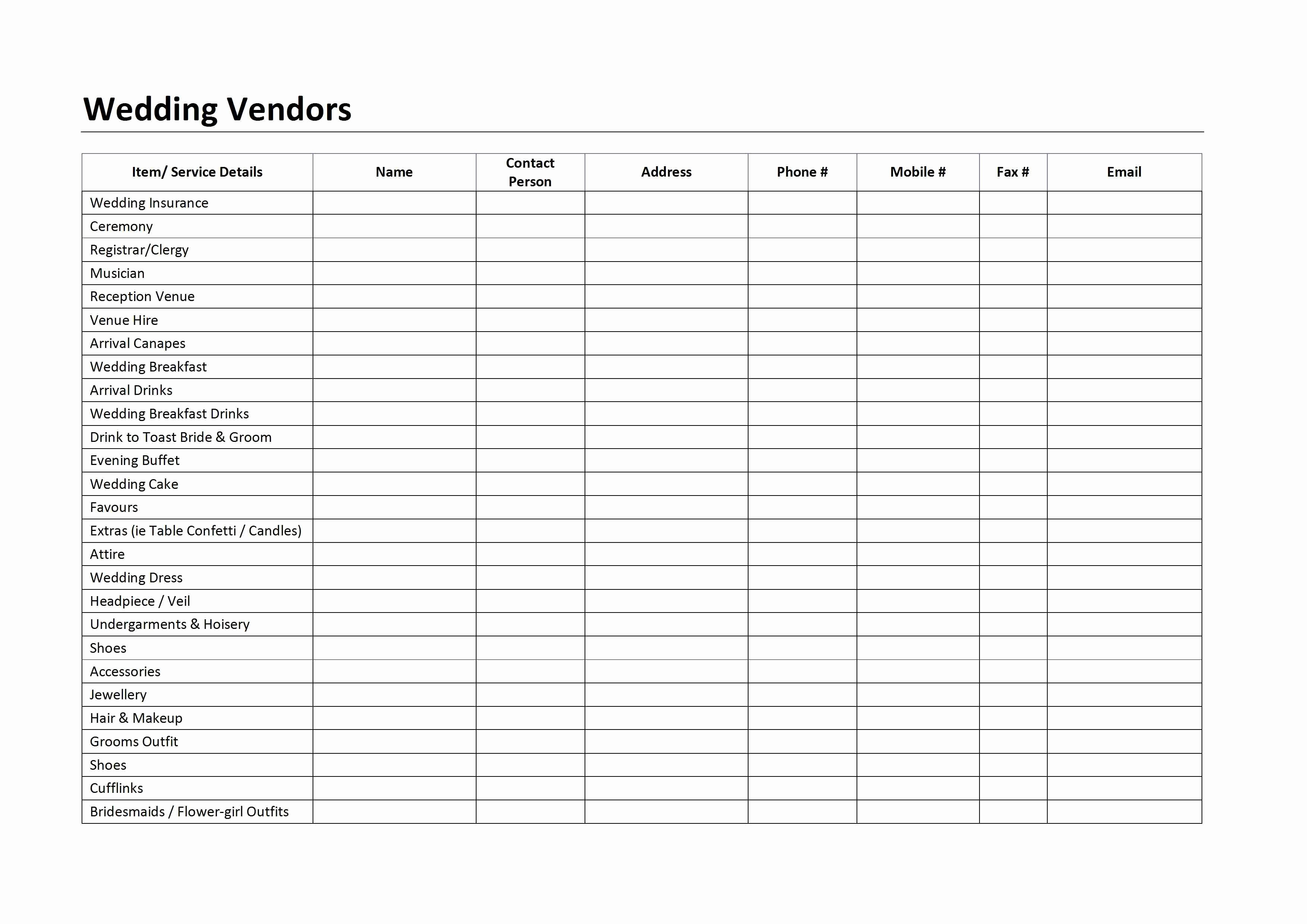 Wedding Vendor List Template Unique Wedding Vendors