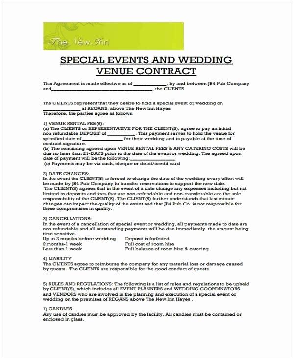Wedding Venue Contract Template Elegant Wedding Venue Contract Template – Emmamcintyrephotography