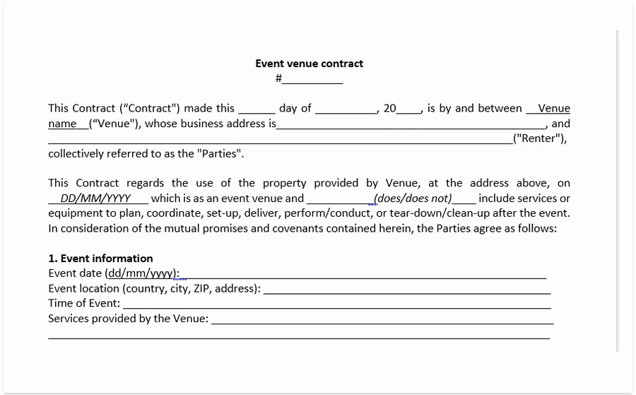 Wedding Venue Contract Template Inspirational event Venue Contract Template A Free Pdf Venue