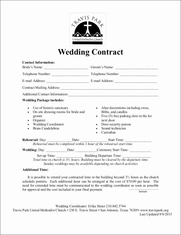 Wedding Venue Contract Template Lovely Free 14 Wedding Contract Samples In Word Pdf