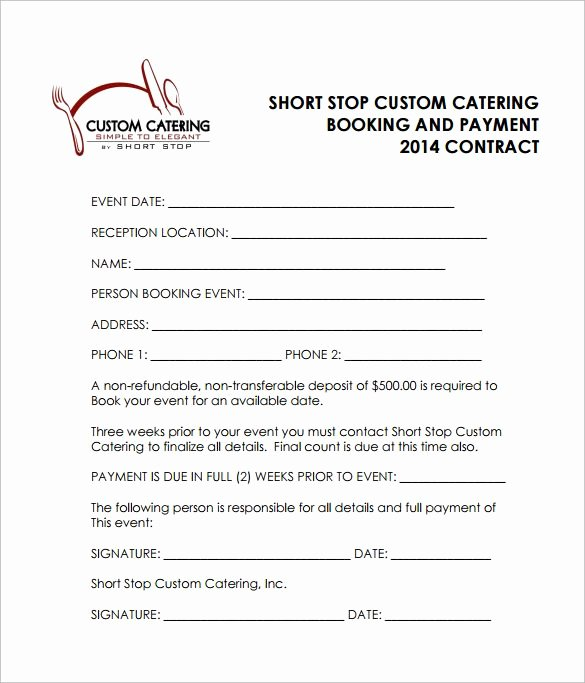 Wedding Venue Contract Template New Reception Catering Contract Pdf Free Download